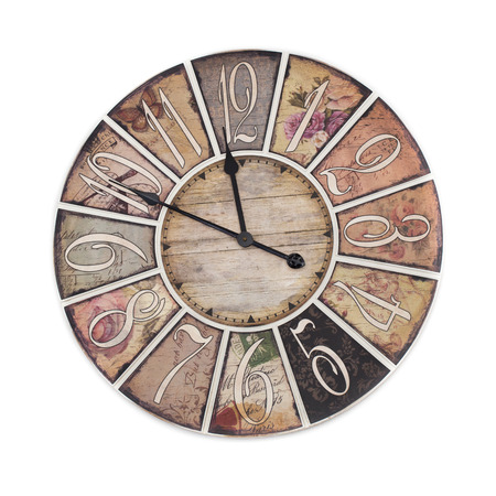 wooden clock: vintage clock isolated on white background
