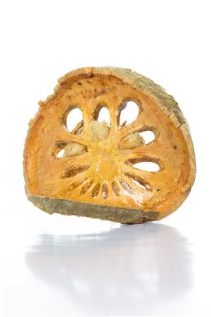 Dry Bael Fruit tea  Aegle marmelos  isolated on white background photo