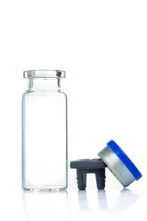 Blank transparent of drug bottle isolated on white background Stok Fotoğraf