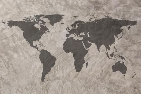 World map on Grunge Concrete Wall texture background Standard-Bild