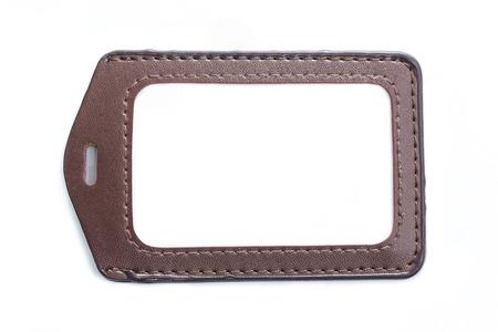 Leather name Tag isolated white background photo