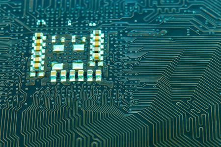 circuito electrico: Cierre de la imagen: placa madre circuito eléctrico de la computadora Foto de archivo