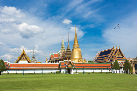 Wat Phra Kaew Grand palace Temple of the Emerald Buddha with blue sky in BangkokThailand