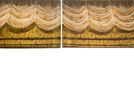 work path: Two layer of Light Gold fabric Curtain background isolated on white background with work path