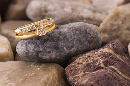 Heart shape diamond ring on blown old stones