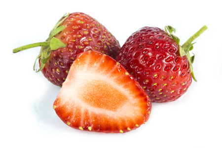 endorphine: Stawberries and cutted isolated on white background Stock Photo
