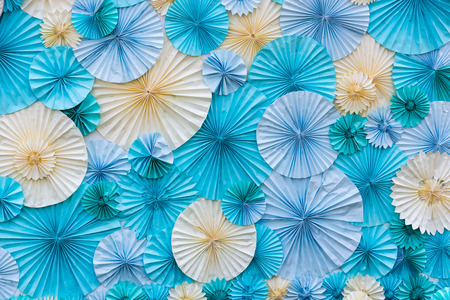 ''greeting card'': circle shape of origami blue and white papers for Background texture