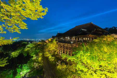 Kiyomizu or Kiyomizu-dera temple light up in spring at Kyoto Japan