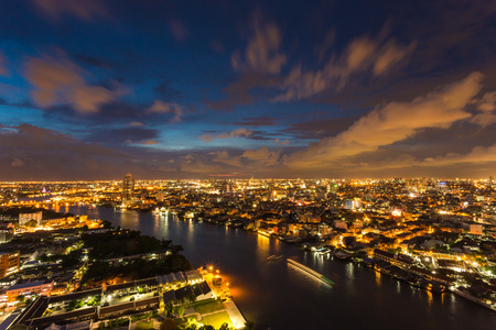 building in city with Chaophaya river at Bangkok, Thailand Stock Photo