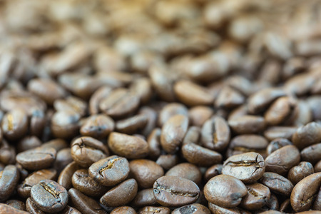 Roasted coffee seed for fresh coffee background Stock Photo