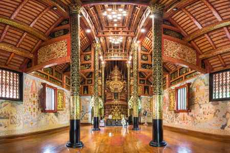 Buddhist temple,Interior of Wat Pra Sing in Chiang Rai ,Thailand Editorial
