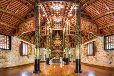 pra: Buddhist temple,Interior of Wat Pra Sing in Chiang Rai ,Thailand Editorial