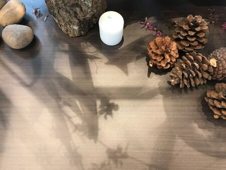 pine cones, rocks, white candle, dried violet flower, part of tree log with its shadow on wooden natural light brown table