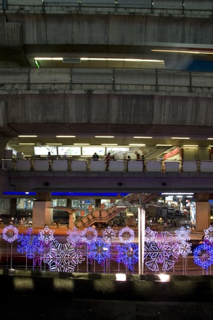Lighting on Christmas Day in Bangkok, Thailand. In view of BTS from Central World Plaza. Stock Photo - 12572701