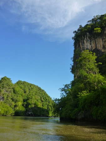 KHAOA KANAB NAM   is mountain compress on two opposite side of river in Krabi that near Malitime resort  Stock Photo