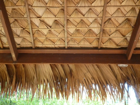 Thai texture of roof in Thai pavillion  flok style , Malitime resort, Krabi photo