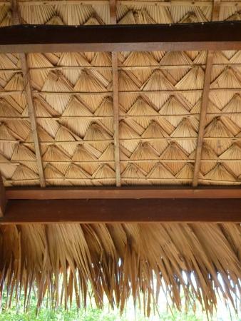Thai texture of roof in Thai pavillion  flok style , Malitime resort, Krabi photo