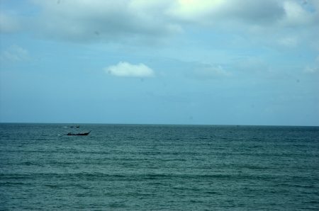 long tailed boat: Go with Long-tailed boat in Krabi sea in cloudy day. It have some rain.