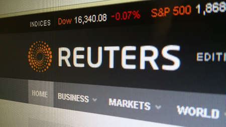 Close-up op Reuters homepage scherm