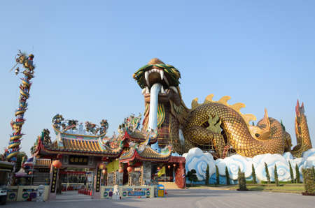 Golden Dragon at Suphanburi, Thailand,travel landmark photo