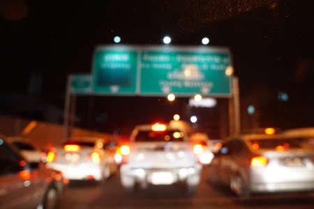 Blurred Defocused Lights of Heavy Traffic photo