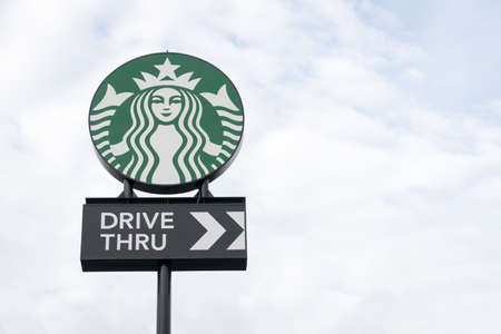 Ayutthaya Province, Thailand - September 25, 2014 : the Starbucks drive thru sign at 200th store at FastFac Mini Factory one of the fastest growing industrial Redactioneel