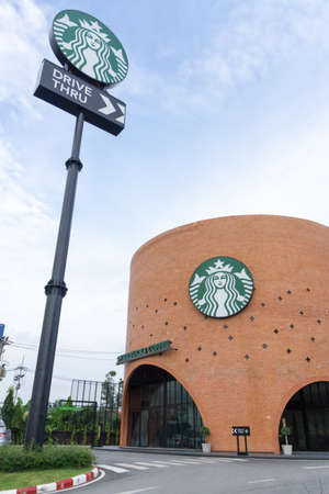 Ayutthaya Province, Thailand - September 25, 2014 : the Starbucks drive thru at 200th store at FastFac Mini Factory one of the fastest growing industrial Redactioneel