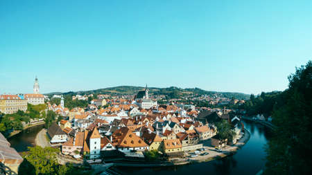 unesco in czech republic: Panorama of the historical part of Cesky Krumlov with Castle and town