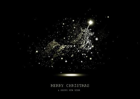 Golden stars glowing unicorn fantasy miracle, sparkle, animals guardian luxury, Christmas abstract background seasonal holiday vector illustration Vettoriali