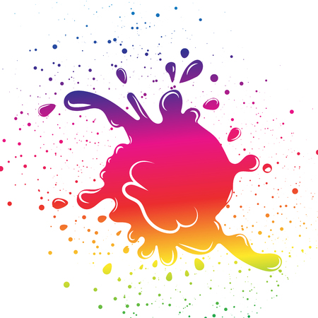 Colorful rainbow spectrum ink splash droplet by grunge brush distress dots scattered liquid on white background 向量圖像