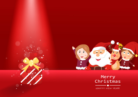 Merry Christmas and happy new year, spotlight red theme with Santa Claus, reindeer and girl kids cartoon, greeting seasonal holidays postcard, vector background illustration