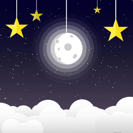 Moon in night sky with stars on space and galaxy background, good night concept using for kids vector illustration, flat design paper art Vectores
