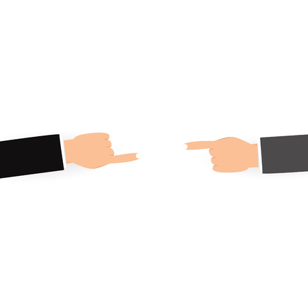 Blaming for others people concept, finger pointing on white background flat design