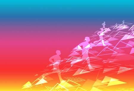 Sport and healthy triangle digital technology creative running festival background with human silhouette using for exercise concept