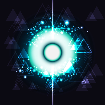 Triangle and particles molecules eye digital technology futuristic blending neon abstract background vector illustration