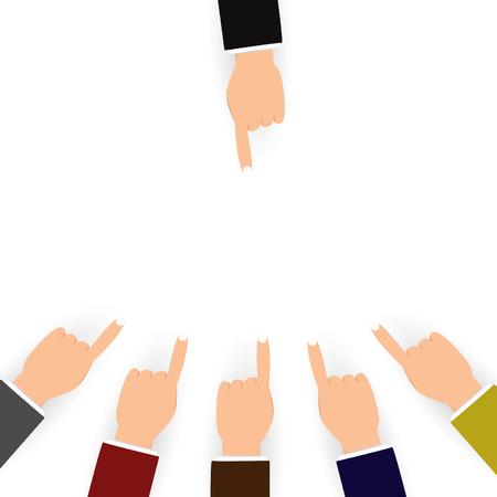 Blâmer et confusion pour les autres personnes concept, doigt pointé sur fond blanc design plat Vecteurs