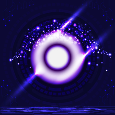 Digital gate technology eye ball shape to future violet neon light with particles abstract background vector illustration