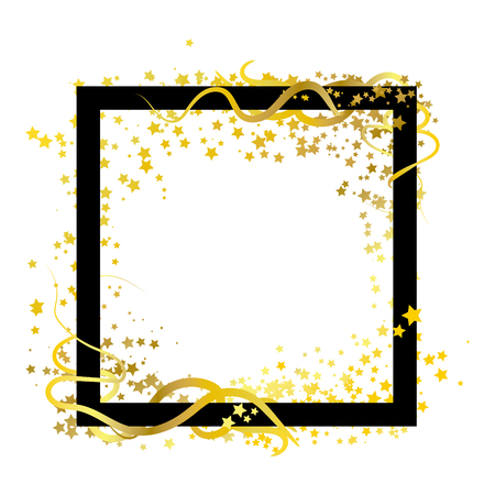 Scatter frame stars golden theme with spiral curve whip lines abstract background using for template banner poster advertisement Vector Illustration
