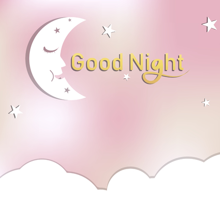 Good night card, stars, moon with cloud and space sleeping paper art concept cute pastel abstract background card vector illustration Illustration