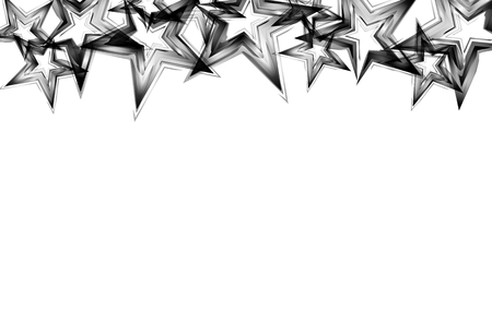 Silver and metal stars scatter glitter shine confetti celebration party on white abstract background vector illustration