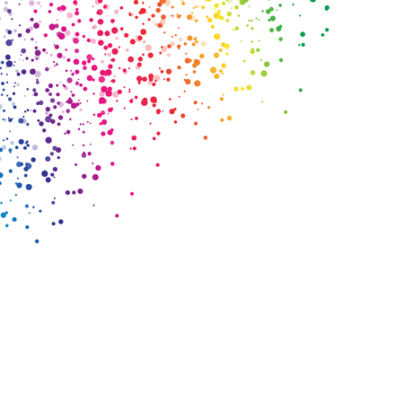 Spots droplet scatter splashing spectrum rainbow concept falling celebration confetti party on white abstract background vector illustration