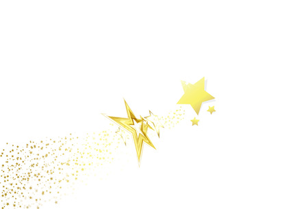 Golden stars scatter glitter sparkle confetti magic celebration on white abstract background vector illustration