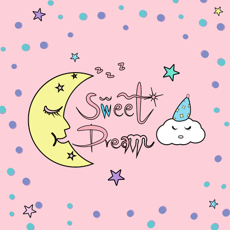 Sweet dream calligraphy astronomy for kids good night sleeping concept abstract background vector illustration Illustration