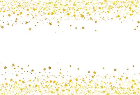 Estrellas dispersan brillo confeti marco dorado banner galaxia celebración fiesta premuim producto concepto abstracto fondo textura vector ilustración