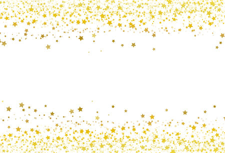 Sterne streuen Glitzer Konfetti Goldrahmen Banner Galaxie Feier Party Premuim Produktkonzept abstrakte Hintergrundtextur Vektor-Illustration