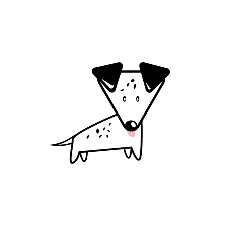 Dog, Dalmatian cartoon cute character flat design isolated on white abstract background vector illustration