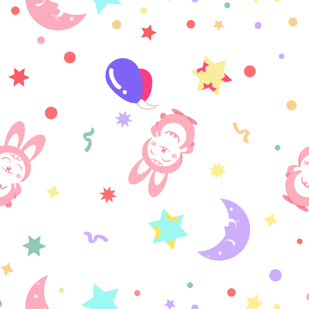 Cute pink rabbit with moon and stars pattern seamless kids celebration party concept abstract background vector illustration