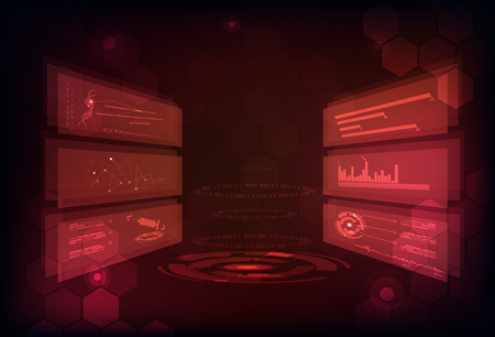 Technology abstract background digital futuristic infographic game concept design in red modern science analysis medical technology 向量圖像