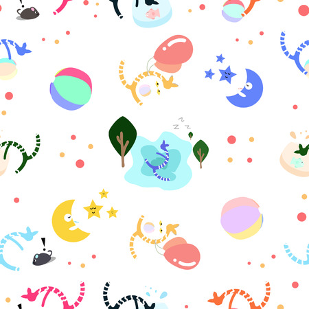 Cats playing set using for kids fun and cute wallpaper pattern seamless vector illustration abstract background