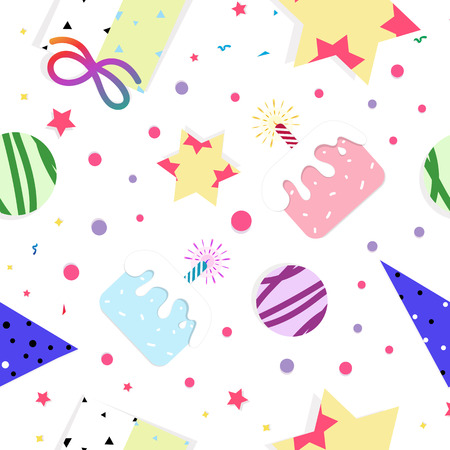 Celebration party festival seamless pattern birthday concept abstract background vector illustration